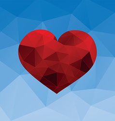 Red heart on blue background vector image