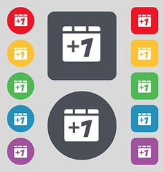 Plus one add one icon sign a set of 12 colored vector