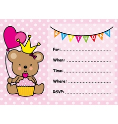Invitation Card Birthday Girl vector image