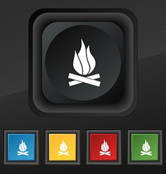 A fire icon symbol set of five colorful stylish vector