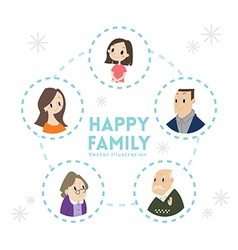 Big happy family portrait cartoon vector