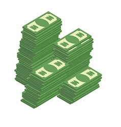Bunch of cash piles of dollars wealth vector