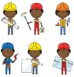 African-american construction workers vector