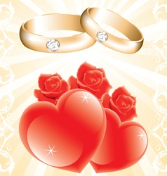 Wedding theme with golden rings roses and hearts vector
