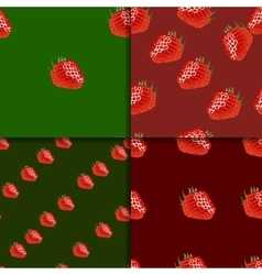 Seamless pattern set with strawberry vector