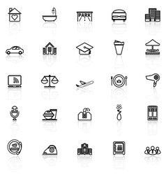 Hospitality business line icons with reflect on vector