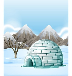 Nature scene with igloo on the ground vector
