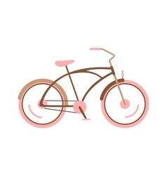 Stylish womens pink bicycle isolated on white vector
