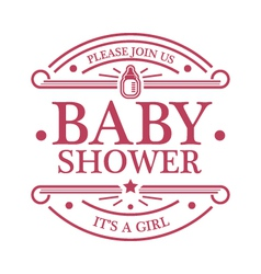 Baby Shower Girl Emblem vector image vector image
