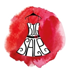 Big Sale letteringDresswatercolorsplash vector image