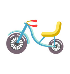 blue children bicycle with yellow seat isolated on vector image