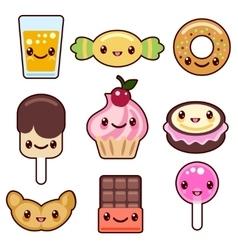 Candy kawaii food characters vector image