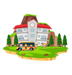 children playing at school lawn vector image vector image