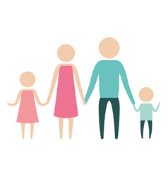 Color silhouette pictogram parents with a girl and vector
