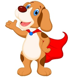 Cute super dog cartoon presenting vector image