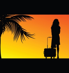girl with travel bag vector image vector image