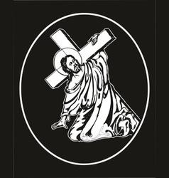 jesus carrying cross vector image