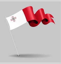 Maltese pin wavy flag vector