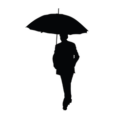 man with umbrella black silhouette vector image vector image