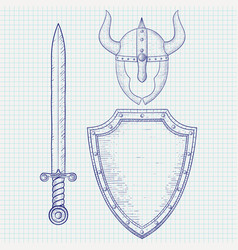 medieval warrior equipment sword shield horned vector image vector image