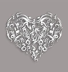 Ornamental flowers heart vector