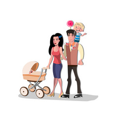 parents standing together with children vector image vector image