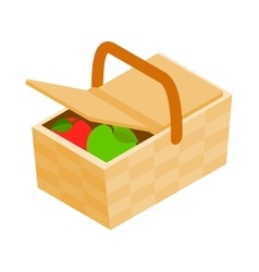 Picnic basket icon isometric 3d style vector