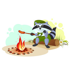 raccoon scout fry sausages on fire vector image vector image