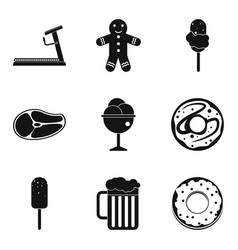 Reset weight icons set simple style vector