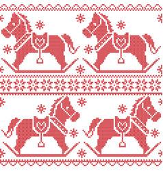 Scandinavian seamless nordic pattern with rocking vector