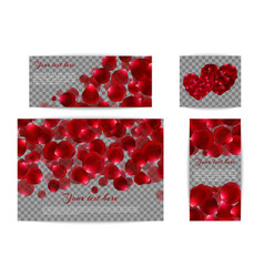 set of banners with red petals vector image vector image