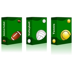 Sport box - American Football Volleyball Tennis vector image vector image