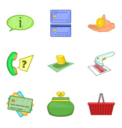 Stock of money icons set cartoon style vector