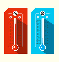 Thermometer icons hot and cold weather symbols vector