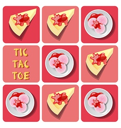 Tic-tac-toe of ice cream and crepe cake vector