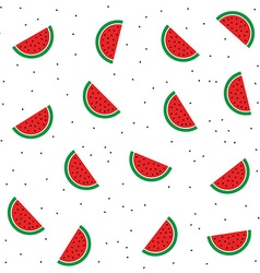 Watermelon half slices and seeds on the white vector image