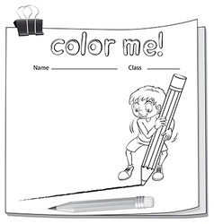 Worksheet showing a boy drawing a line vector image