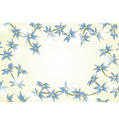 Yellow background with blue flowers vector image
