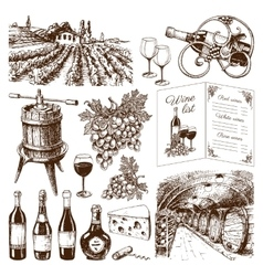 Traditional vinery production hand drawn vector
