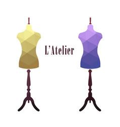 Vintage female tailor mannequin vector