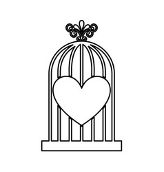 Bird cage with heart isolated icon vector