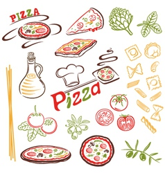 Pizza pasta set vector
