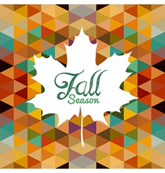 Autumn leaf text with triangles background eps10 vector