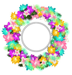 Bright wreath of different flowers and beads vector