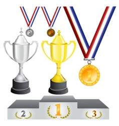 Reward medal and cup vector