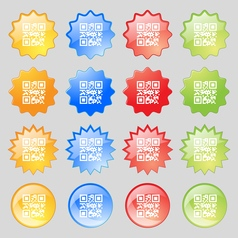 Qr code icon sign big set of 16 colorful modern vector