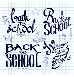 Back to school lettering and calligraphic on a vector