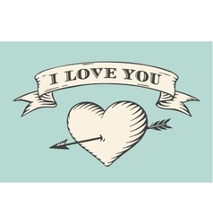 Old ribbon with message i love you heart and vector