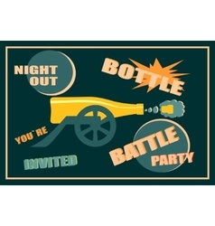 Design for wine event bottle battle party vector