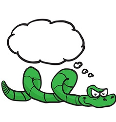 Green snake with thought bubble vector
